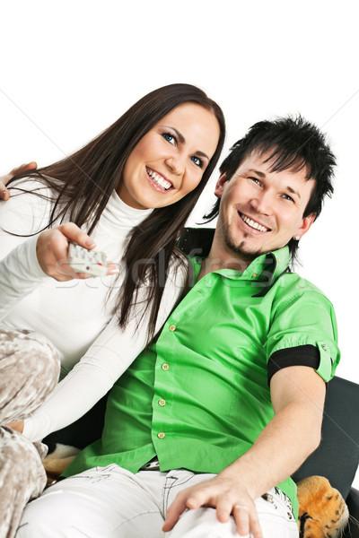 幸せ カップル を見て テレビ 笑みを浮かべて ストックフォト © MikLav