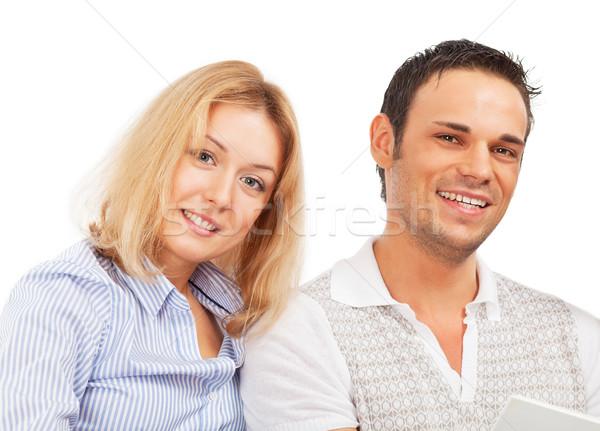 счастливым пару изолированный белый женщину Сток-фото © MikLav