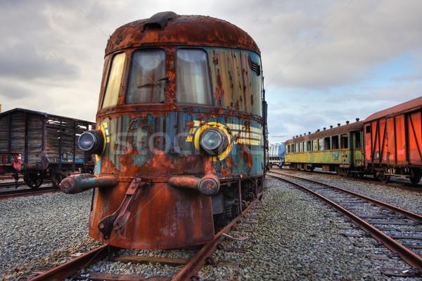 Elhagyatott vasút gép áll rozsdás hdr Stock fotó © MikLav