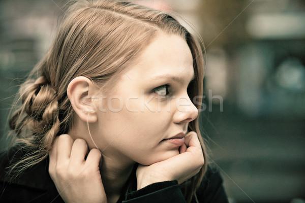 Töprengő fiatal szőke nő profil kifakult Stock fotó © MikLav