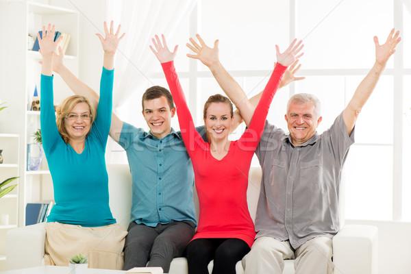 Happy family at home Stock photo © MilanMarkovic78