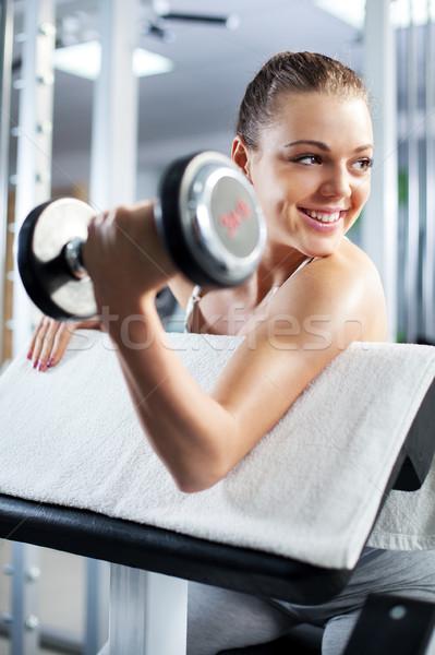 Bíceps cute deportivo ejercicio fitness Foto stock © MilanMarkovic78