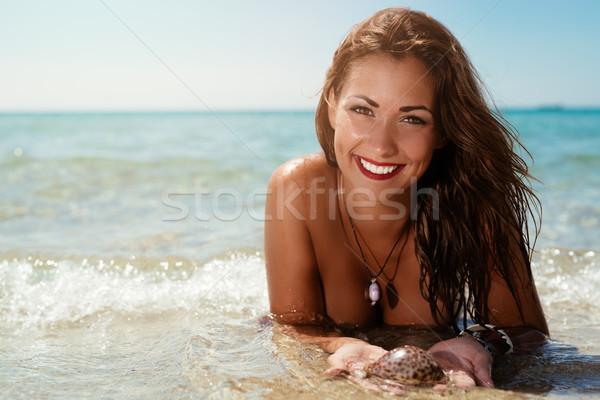 女性 ビーチ 美しい 若い女性 シェル ストックフォト © MilanMarkovic78