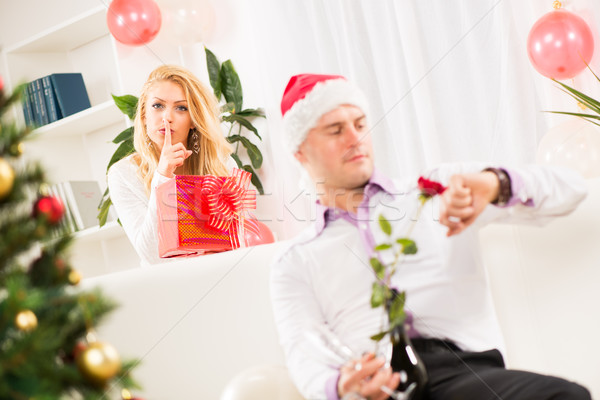Shhhh, I have A Christmas Gift For Him Stock photo © MilanMarkovic78