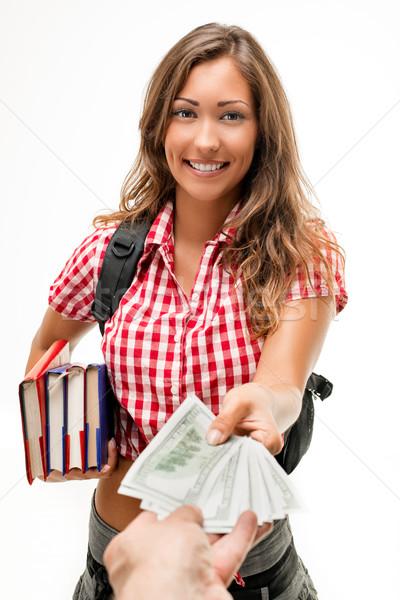 Pénz tanulás boldog gyönyörű tinilány könyvek Stock fotó © MilanMarkovic78