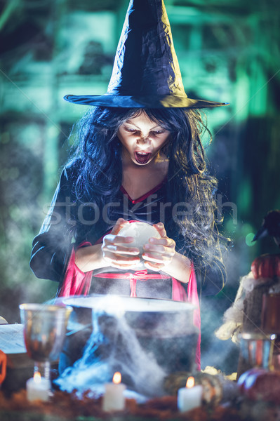 Young Witch Watching The Future In Magic Ball Stock photo © MilanMarkovic78