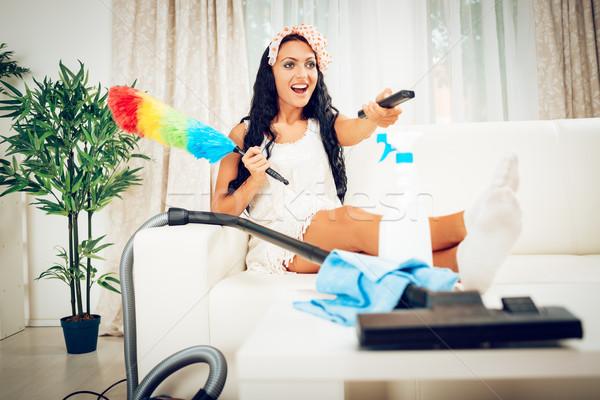 Takarítás otthon szórakozás fiatal gyönyörű boldog Stock fotó © MilanMarkovic78