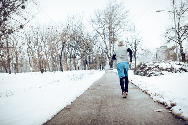 Stockfoto: Winter · jogging · actief · senior · man · lopen