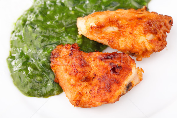 Fried Chicken Strips with spinach Stock photo © MilanMarkovic78