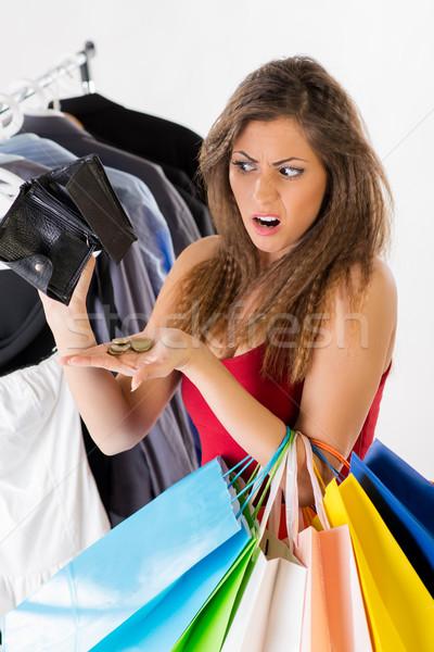 Boş cüzdan sevimli genç kadın hiç para alışveriş Stok fotoğraf © MilanMarkovic78