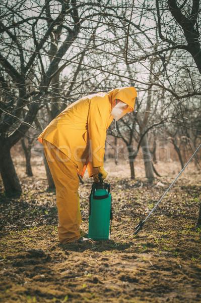 Boomgaard volwassen man bescherming pak boom chemicaliën Stockfoto © MilanMarkovic78