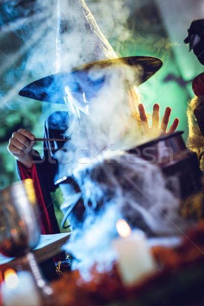 Giovani strega cottura magia faccia nascosto Foto d'archivio © MilanMarkovic78