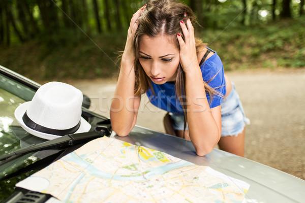 Сток-фото: потеряли · девушки · путешествия · путать · красивая · женщина · Постоянный