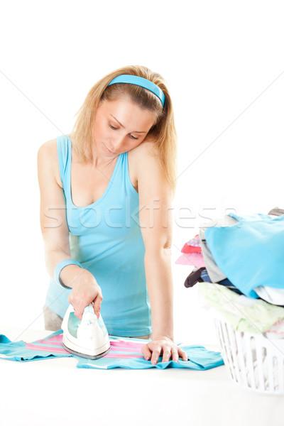 Schönen Hausfrau Bügeln müde Wäsche Stock foto © MilanMarkovic78