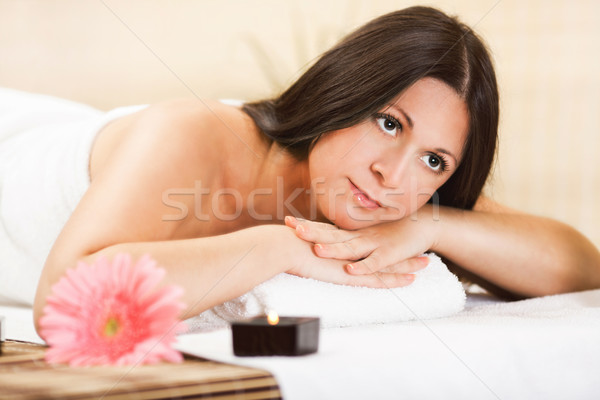 Young woman relaxing at the spa center Stock photo © MilanMarkovic78