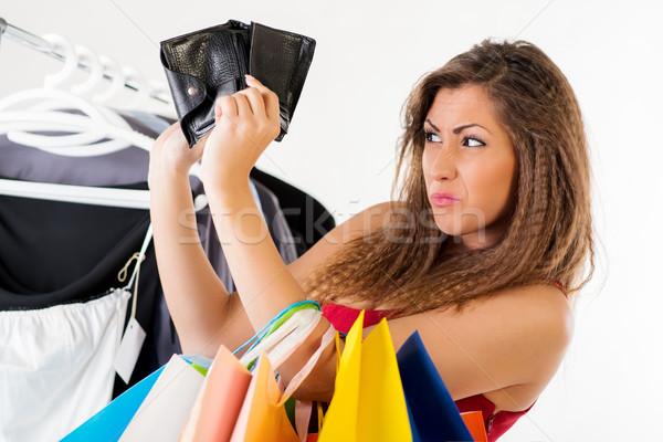 üres pénztárca aranyos fiatal nő nincs pénz vásárlás Stock fotó © MilanMarkovic78