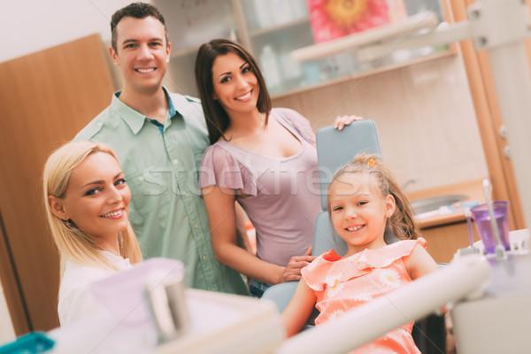 Foto d'archivio: Famiglia · dentista · felice · giovani · visitare