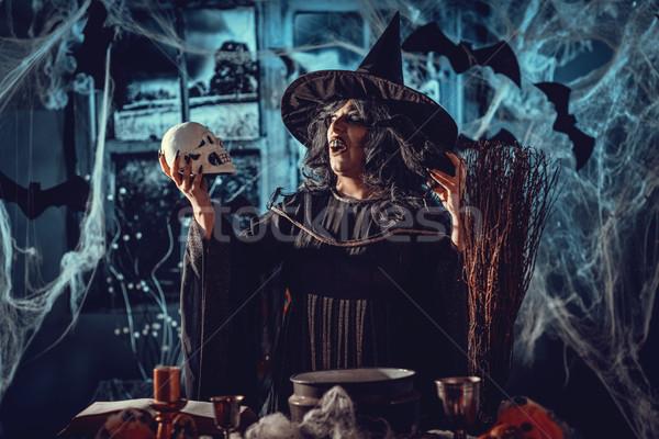 Bruja magia palabras cráneo cara horripilante Foto stock © MilanMarkovic78