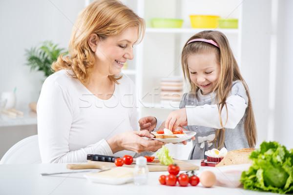 Sandwich mooie gelukkig grootmoeder cute Stockfoto © MilanMarkovic78