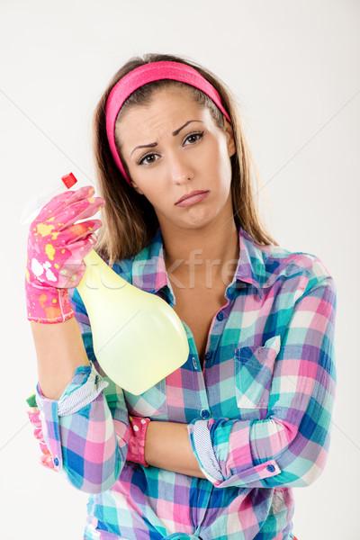 Frühjahrsputz Frau müde faul Reinigung tragen Stock foto © MilanMarkovic78
