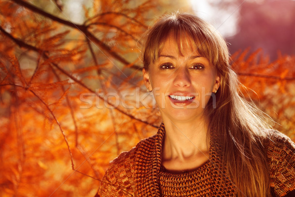 Sunlit Autumn Woman Stock photo © MilanMarkovic78