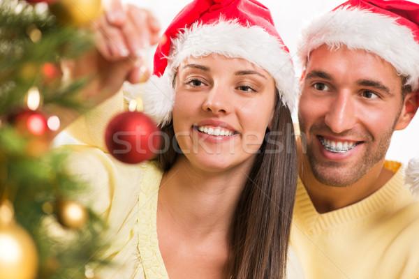 Mutlu Noel çift tadını çıkarmak noel ağacı Stok fotoğraf © MilanMarkovic78