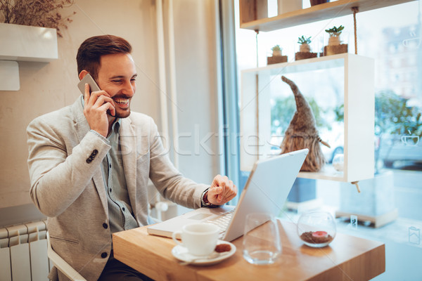 Geslaagd zakenman koffiepauze mooie jonge glimlachend Stockfoto © MilanMarkovic78