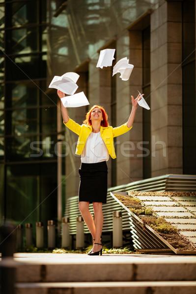 成功した 女性実業家 幸福 祝う 成功 ストックフォト © MilanMarkovic78