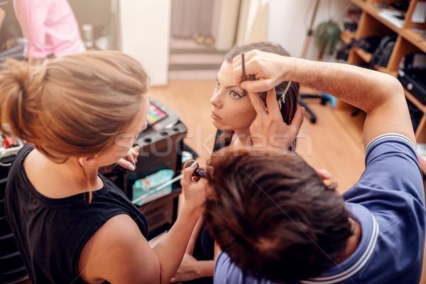 Makijaż Akademii nauczyciel pomoc studentów szkolenia Zdjęcia stock © MilanMarkovic78