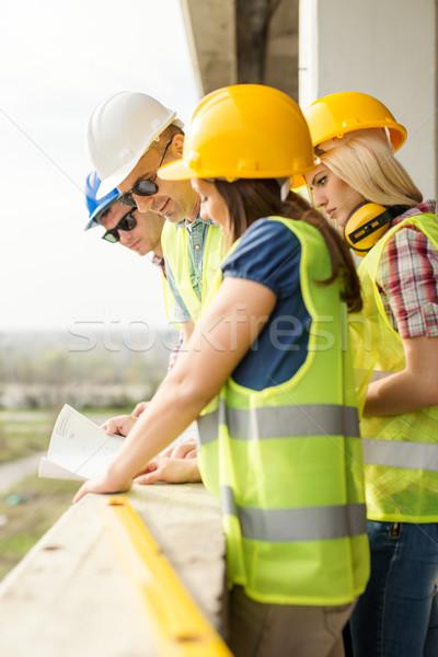 Stockfoto: Team · vier · bouw · plan · bouwplaats · vrouw