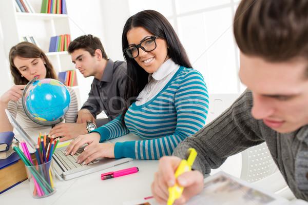 Сток-фото: студент · девушки · обучения · портрет · красивой · улыбаясь