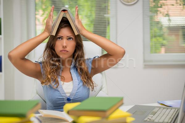 Foto stock: Estudiante · nina · hermosa · aburrido