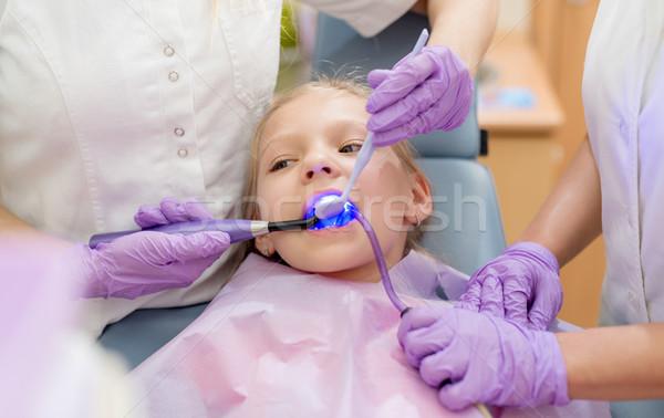 Küçük kız dişçi güzel ziyaret oturma Stok fotoğraf © MilanMarkovic78