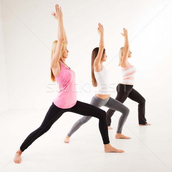 Stock photo: Yoga Virabhadrasana I Warrior Pose