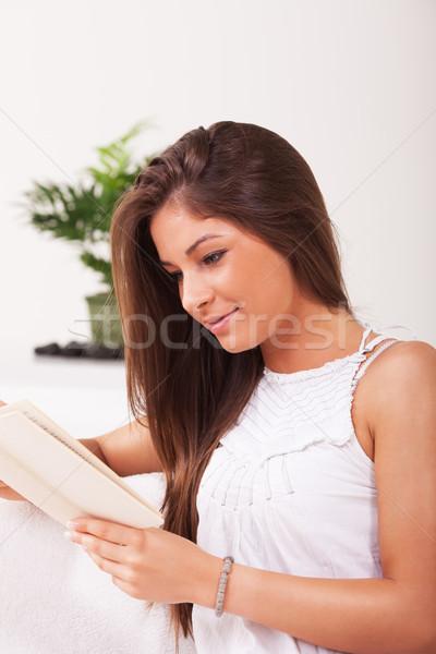 Сток-фото: чтение · красивой · сидят · книга