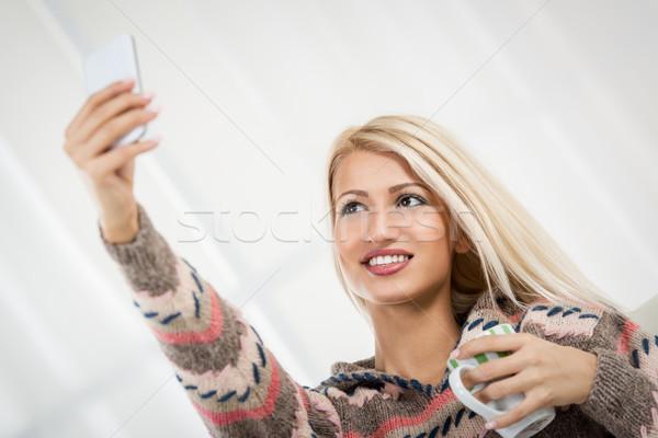 Beautiful Girl Taking A Selfie Stock photo © MilanMarkovic78