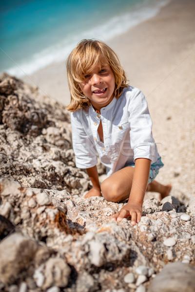Verovering top cute jongen klimmen omhoog Stockfoto © MilanMarkovic78