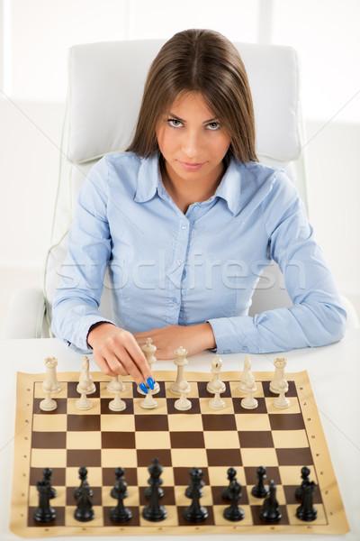 üzleti stratégia fiatal gyönyörű üzletasszony ül fölött Stock fotó © MilanMarkovic78