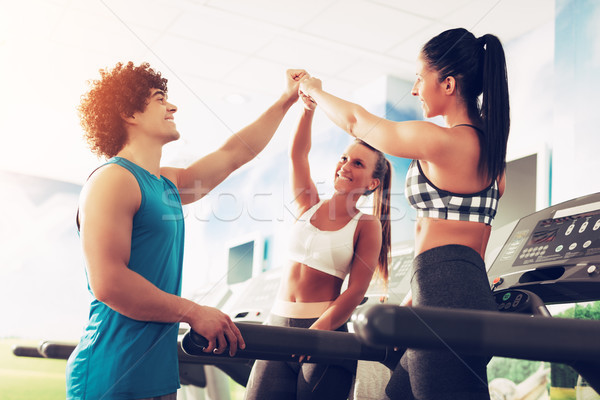 Friends Greeting At The Gym Stock photo © MilanMarkovic78