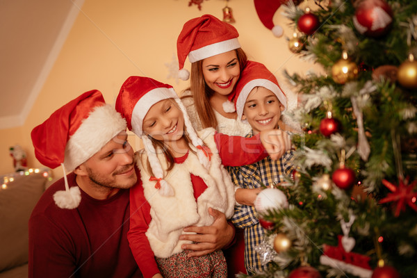 Weihnachten Zeit schönen glücklich Schwester Bruder Stock foto © MilanMarkovic78