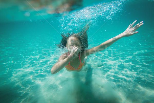 女の子 シュノーケリング 美しい ダイビング 水中 海 ストックフォト © MilanMarkovic78