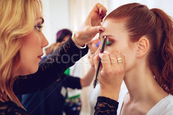 Sminkmester jelentkezik szemöldök smink szem szépség Stock fotó © MilanMarkovic78