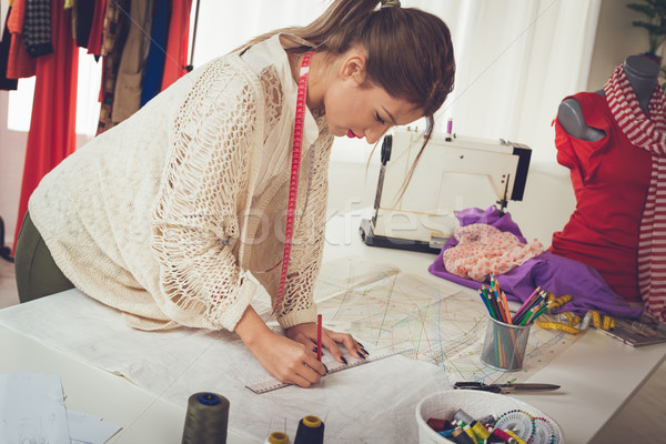 Woman Tailor With Sewing Pattern Stock photo © MilanMarkovic78