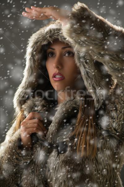 Girl Finding Her Way Through Blizzard Stock photo © MilanMarkovic78