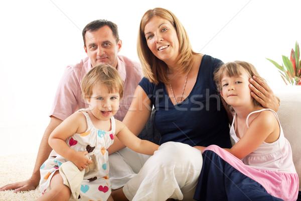 Mutlu aile güzel oturma zemin adam mutlu Stok fotoğraf © MilanMarkovic78