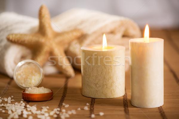 Aroma terapia scena tranquilla asciugamano candela Foto d'archivio © MilanMarkovic78