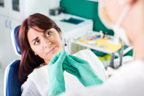 Scared girl at dentist Stock photo © MilanMarkovic78