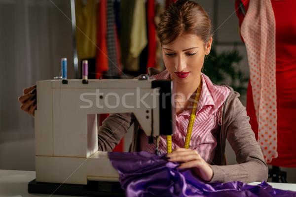 Fiatal divat designer gyönyörű mosolyog lány Stock fotó © MilanMarkovic78