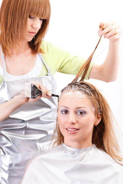 Haj fiatal gyönyörű fodrász hajszín nők Stock fotó © MilanMarkovic78