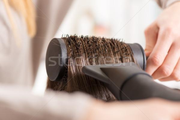 Haren lang bruin haar haardroger borstel Stockfoto © MilanMarkovic78